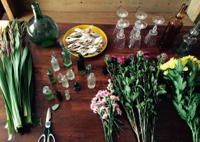 Flowers mise en place